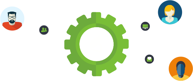 Gears showing how CRM works together to increase leads