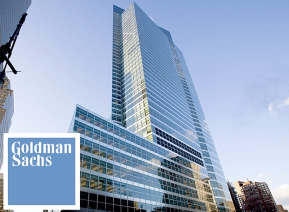 Goldman Sachs logo and building photo